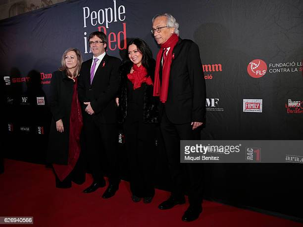 Fresquet Catalonian Regional Government President Carles Puigdemont Marcela Topor and Bonaventura Clotet attend 'People in Red' charity event...
