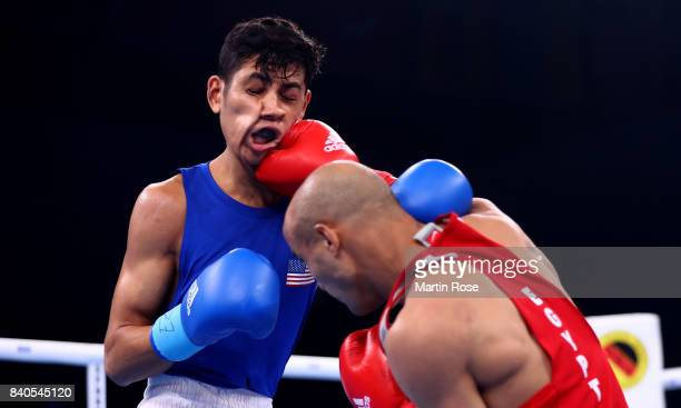 Freudis Rojas of USA and Eslam Mohamed of Egypt fight in the Men's light welter during the quarter finals of the AIBA World Boxing Championships...