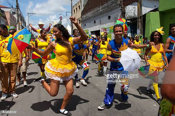 Frevo dancers during the parade of the Galo da Madrugada on February 21 2009 in central Recife Brazil Certified by the Guinness Book of Records as...