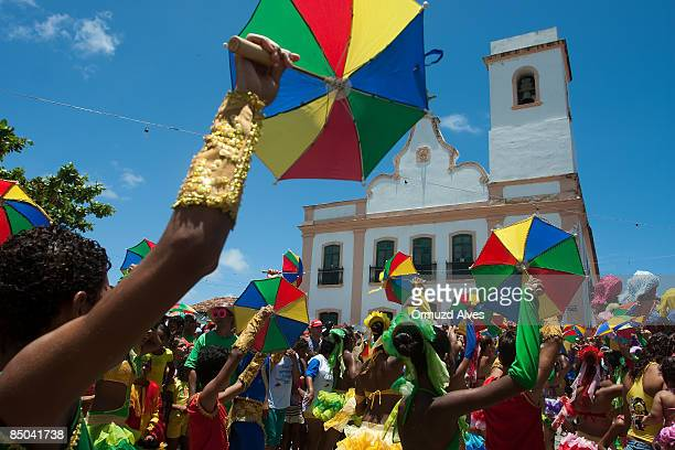 Frevo dancers perform in the street during carnival on February 24 2009 in Olinda Brazil
