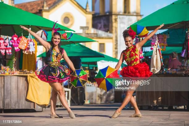 frevo dancers, the brazilian carnival in olinda, pernambuco - samba stock pictures, royalty-free photos & images