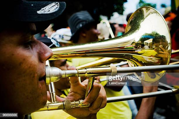 Frevo musicians perform and parade in the streets of Olinda during the 2010 carnival celebrations on February 14 2010 in Olinda Brazil Thousands of...