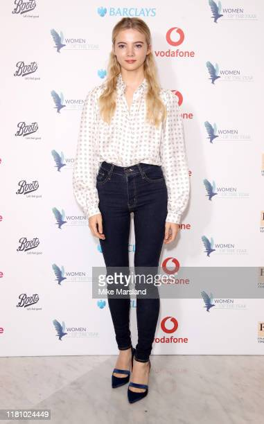 Freya Allan attends the Woman Of The Year Awards Lunch at Royal Lancaster Hotel on October 14 2019 in London England
