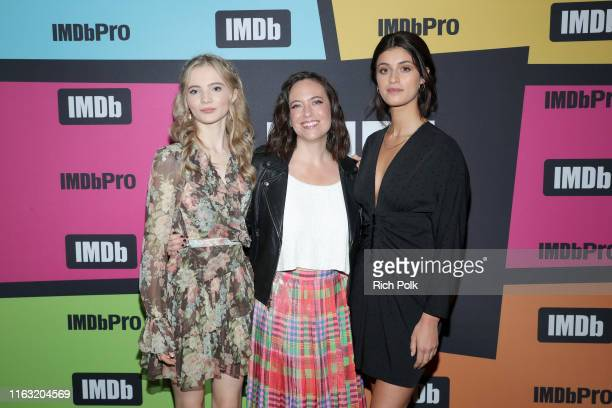 Freya Allan Lauren Schmidt and Anya Chalotra attend the #IMDboat at San Diego ComicCon 2019 Day Three at the IMDb Yacht on July 20 2019 in San Diego...