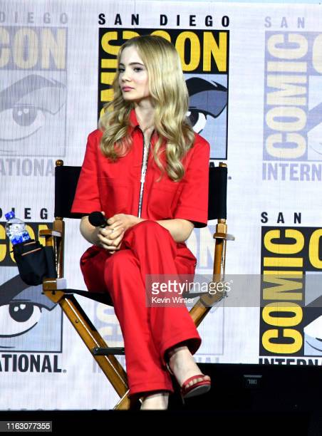 Freya Allan speaks at The Witcher A Netflix Original Series Panel during 2019 ComicCon International at San Diego Convention Center on July 19 2019...