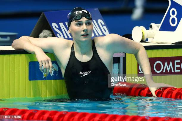 Freya Anderson of Great Britain looks on after the Women's 100m Freestyle Semifinal on day five of the Gwangju 2019 FINA World Championships at Nambu...