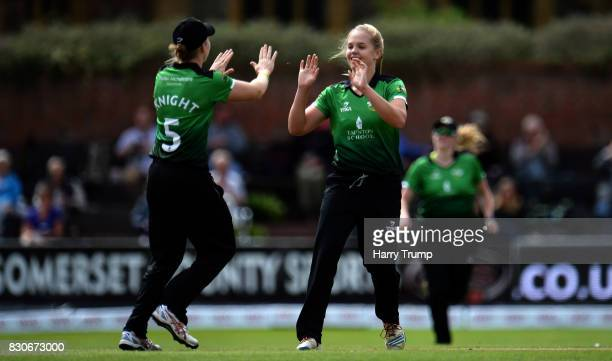 Freya Davies and Heather Knight of Western Storm celebrates the wicket of Amy Jones of Loughborough Lightning during the Kia Super League 2017 match...