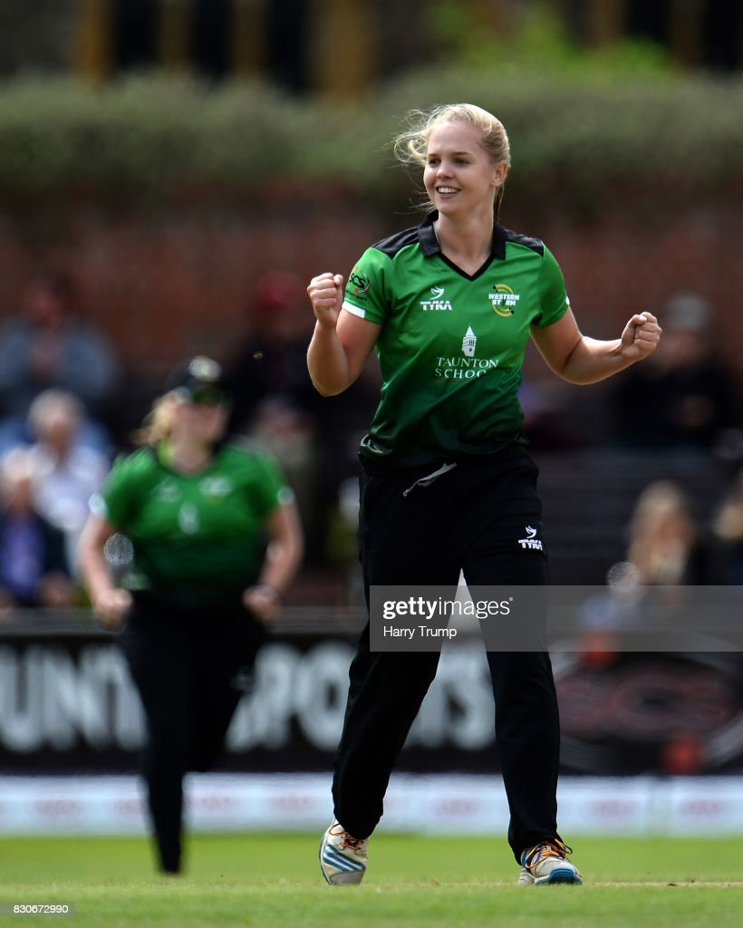 Freya Davies of Western Storm celebrates the wicket of Amy Jones of Loughborough Lightning during the Kia Super League 2017 match between Western Storm and Loughborough Lightning at The Cooper Associates County Ground on August 12, 2017 in Taunton, England.