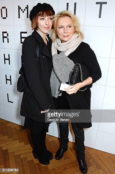 Freya Edmondson and Jennifer Saunders attend the Anya Hindmarch AW16 show on February 21, 2016 in London, England.