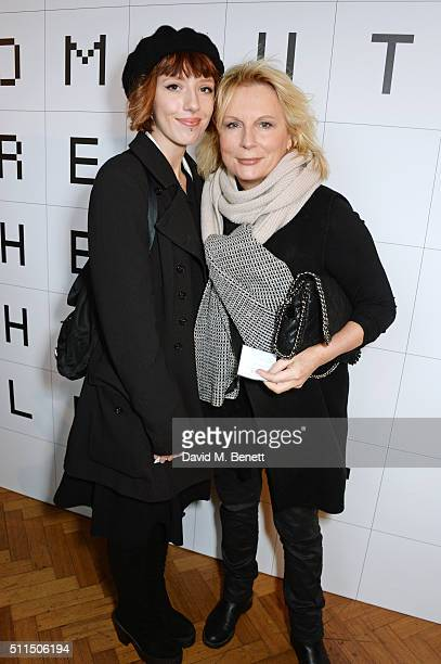 Freya Edmondson and Jennifer Saunders attend the Anya Hindmarch AW16 show on February 21 2016 in London England