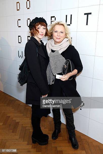 Freya Edmondson and Jennifer Saunders attend the Anya Hindmarch show during London Fashion Week Autumn/Winter 2016/17 at The Lindley Hall on February...