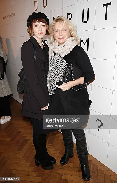 Freya Edmondson and Jennifer Saunders attend the Anya Hindmarch show during London Fashion Week Autumn/Winter 2016/17 on February 21, 2016 in London,...