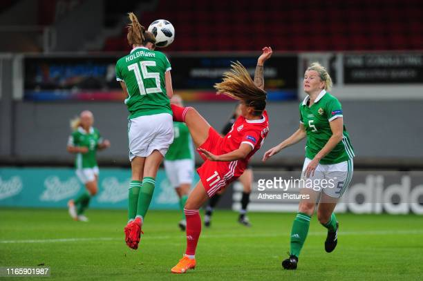 Freya Holdaway of Northern Ireland battles with Natasha Harding of Wales during the UEFA Womens Euro Qualifier match between Wales and Northern...