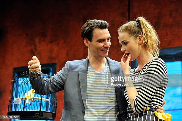 Freya Mavor as Annie and Harry Lloyd as Jack in Zach Helm's Good Canary directed by John Malkovich at the Rose Theatre on September 20 2016 in...