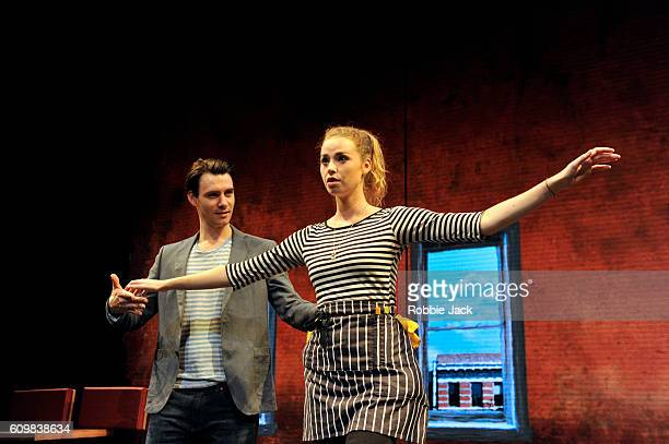 Freya Mavor as Annie and Harry Lloyd as Jack in Zach Helm's Good Canary directed by John Malkovich at the Rose Theatre on September 20, 2016 in...