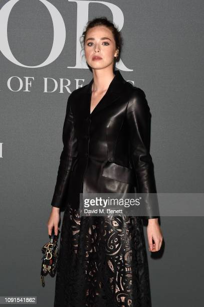 Freya Mavor attends a private view of the 'Christian Dior Designer of Dreams' exhibition at The VA on January 30 2019 in London England