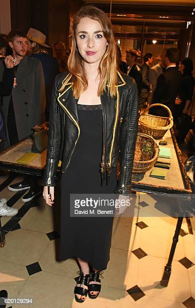 Freya Mavor wearing Burberry attends an event to celebrate 'The Tale of Thomas Burberry' at Burberry's all day cafe Thomas's on November 1 2016 in...