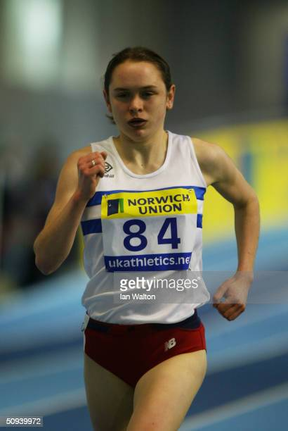 Freya Murray of Scotland in action in the 3 000 metres during the Norwich Union World Indoor Athletics Trials at the English Institue of Sport...