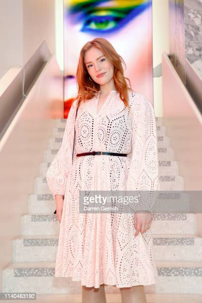 Freya Ridings attends the Pat McGrath 'A Technicolour Odyssey' Campaign launch party at Brasserie of Light Selfridges on April 04 2019 in London...