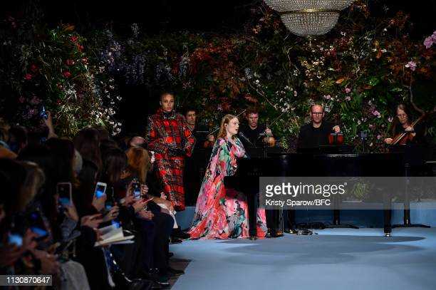 Freya Ridings performs at the Richard Quinn show during London Fashion Week February 2019 at Ambika P3 on February 19, 2019 in London, England.