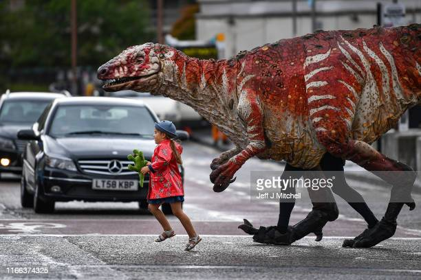Freya Smith aged three leads one of Erth's giant dinosaur puppets across the road on August 6 2019 in Edinburgh Scotland Australian theatre company...