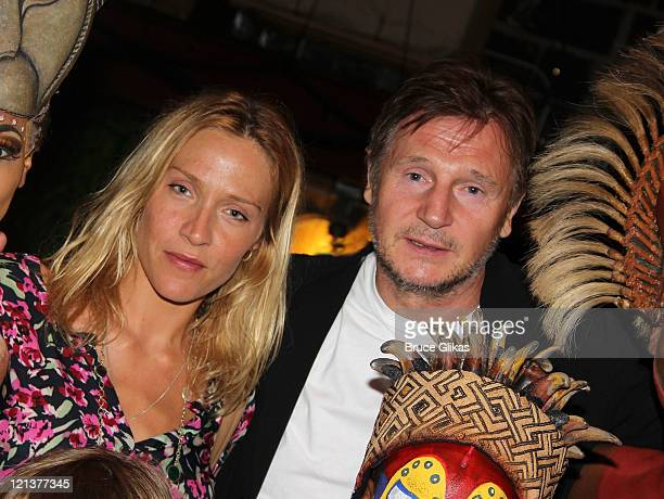 Freya St Johnston and boyfriend Liam Neeson pose backstage at Disney's 'The Lion King' on Broadway at The Minskoff Theater on August 18 2011 in New...