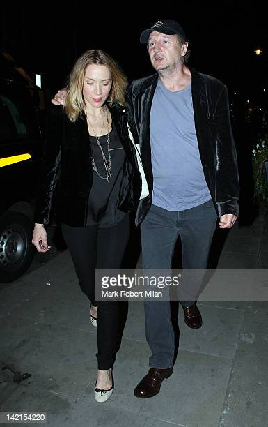 Freya St Johnston and Liam Neeson at Scotts restaurant on March 30 2012 in London England
