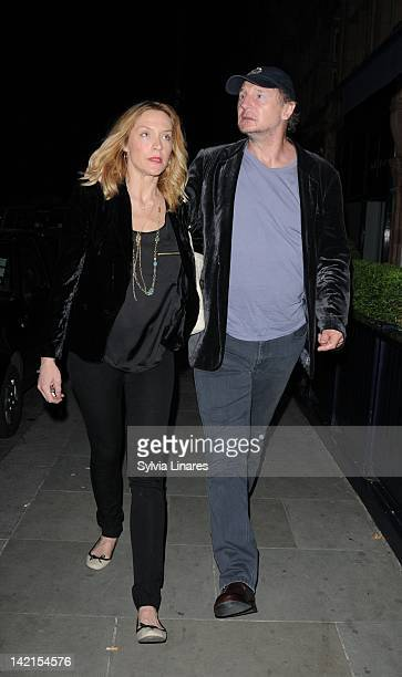 Freya St Johnston and Liam Neeson leave Scotts Restaurant on March 30 2012 in London England