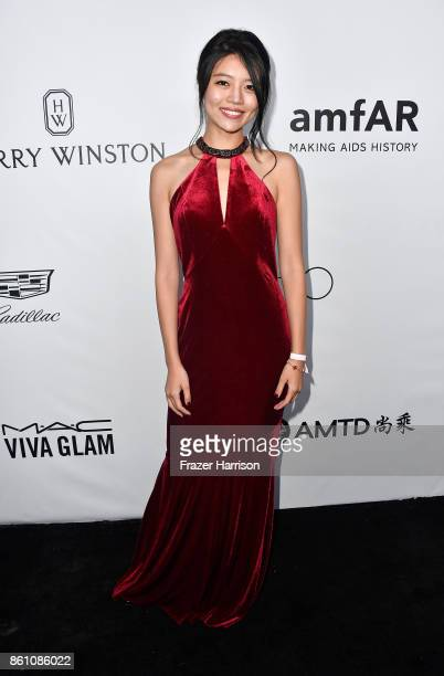 Freya Zhou attends the amfAR Gala at Ron Burkle's Green Acres Estate on October 13 2017 in Beverly Hills California