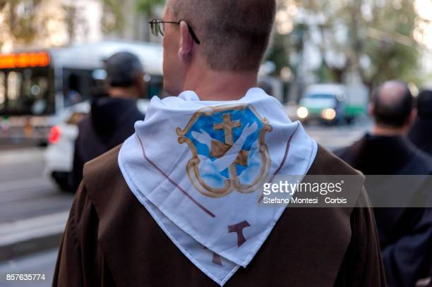 Friar during the Solemn celebrations and procession in honor of St Francis of Assisi patron of Italy took place to Trastevere on October 4 2017 in...