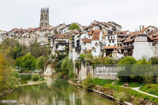 fribourg townscape near saane river, fribourg canton, switzerland - フリブール州 ストックフォトと画像