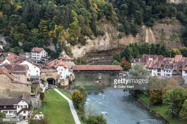 Fribourg wooden bridge in Switzerland
