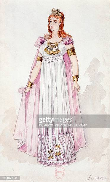 Fricka sketch of the costume created by Charles Bianchini for a performance of The Valkyrie from The Ring of the Nibelung cycle by Richard Wagner at...
