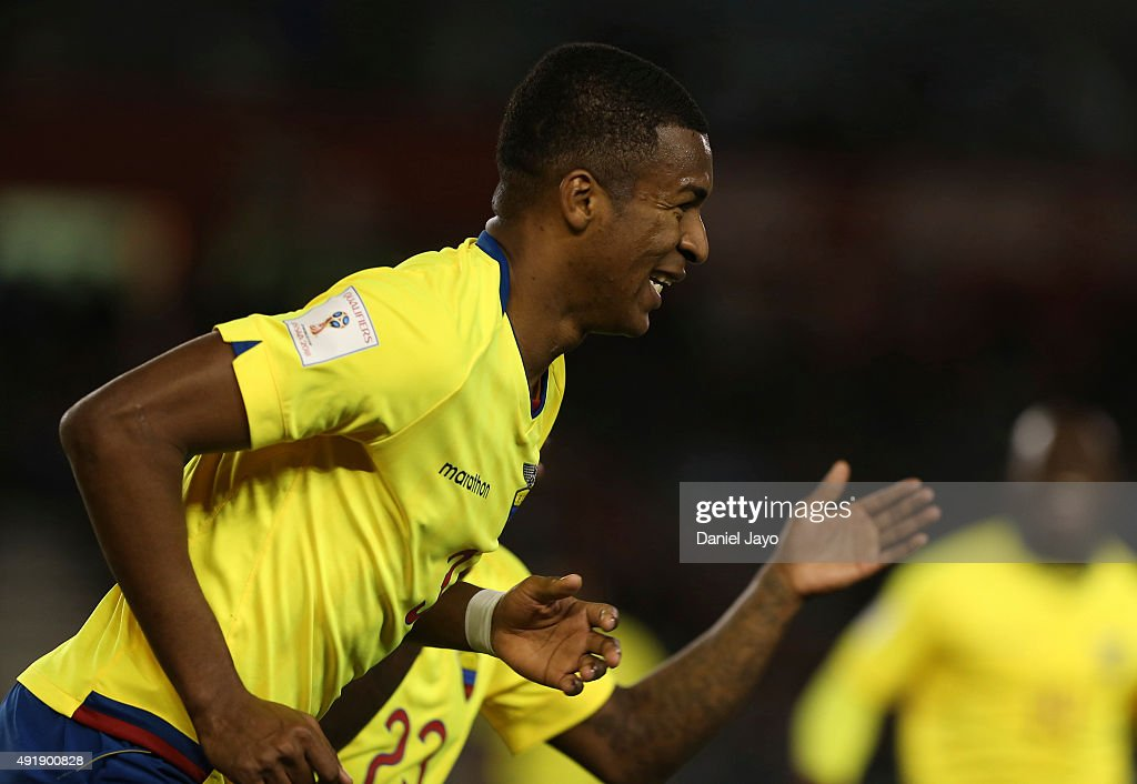 Frickson Erazo, of Ecuador, celebrates after scoring the first goal during a match between Argentina and Ecuador as part of FIFA 2018 World Cup Qualifier at Monumental Antonio Vespucio Liberti Stadium on October 08, 2015 in Buenos Aires, Argentina.