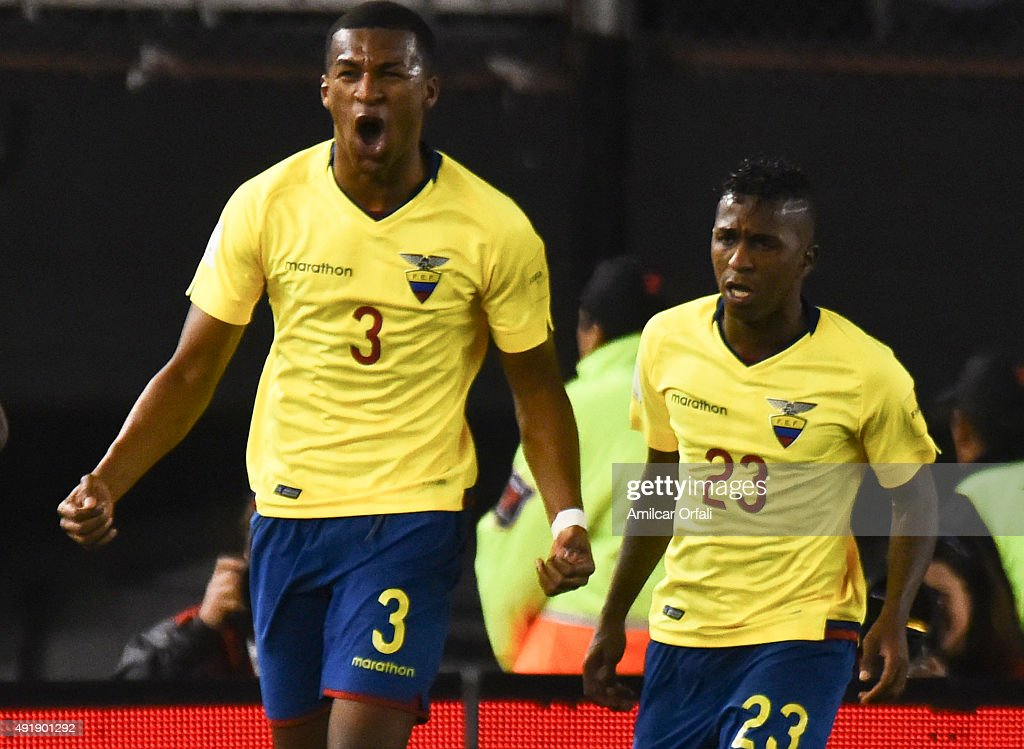Frickson Erazo of Ecuador celebrates after scoring the first goal of his team during a match between Argentina and Ecuador as part of FIFA 2018 World Cup Qualifier at Monumental Antonio Vespucio Liberti Stadium on October 08, 2015 in Buenos Aires, Argentina.