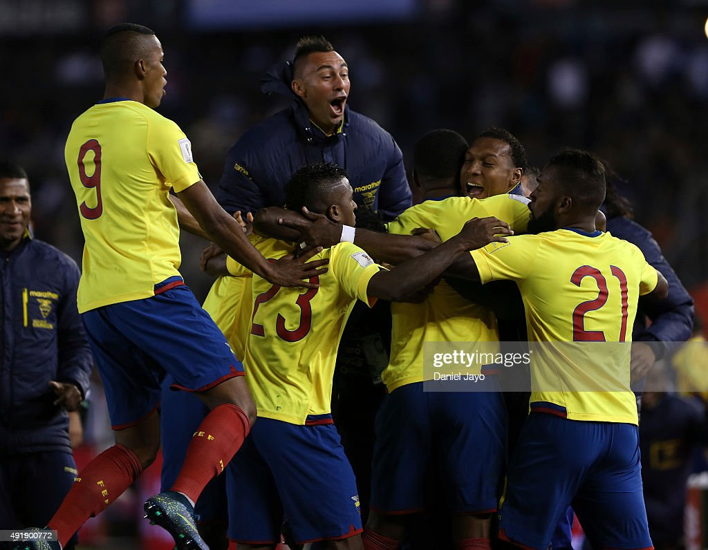 Frickson Erazo, of Ecuador, (C) celebrates with teammates after scoring the first goal during a match between Argentina and Ecuador as part of FIFA 2018 World Cup Qualifier at Monumental Antonio Vespucio Liberti Stadium on October 08, 2015 in Buenos Aires, Argentina.