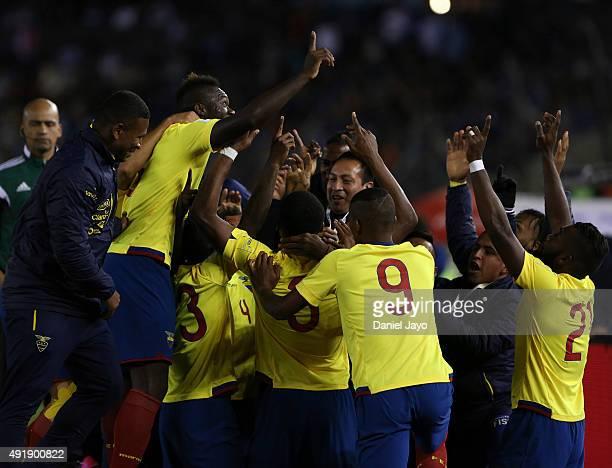 Frickson Erazo of Ecuador celebrates with teammates after scoring the first goal during a match between Argentina and Ecuador as part of FIFA 2018...