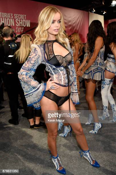 Frida Aasen poses backstage during 2017 Victoria's Secret Fashion Show In Shanghai at MercedesBenz Arena on November 20 2017 in Shanghai China