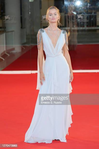 """Frida Aasen walks the red carpet ahead of the movie """"Amants"""" at the 77th Venice Film Festival at on September 03, 2020 in Venice, Italy."""