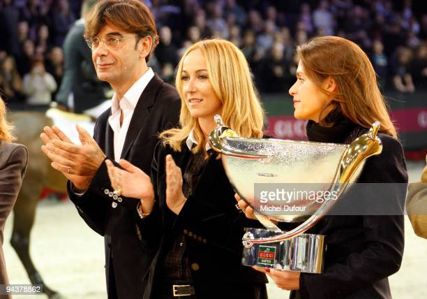 Frida Gianini and Virginie Couperie-Eiffell awards Jos Lansink the winner of the International Gucci Masters Competition - Day 4 at Paris Nord...