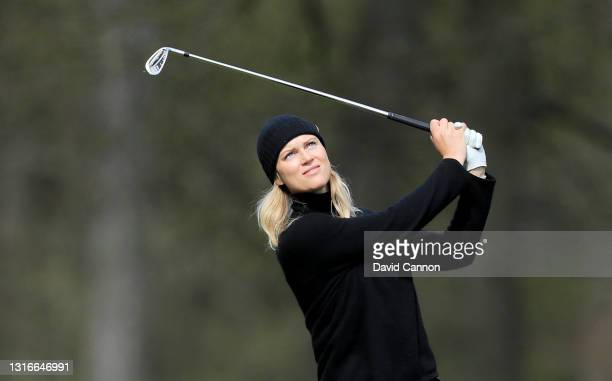 Frida Gustafsson Spang of Sweden plays her second shot on the 18th hole during the Rose Ladies Series on the Duchess Course at Woburn Golf Club on...