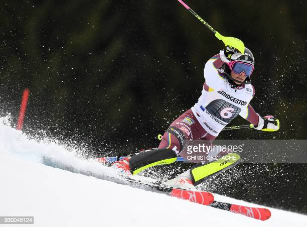 Frida Hansdotter from Sweden competes in the first round of the FIS World Cup Women's Slalom event in Ofterschwang southern Germany on March 10 2018...