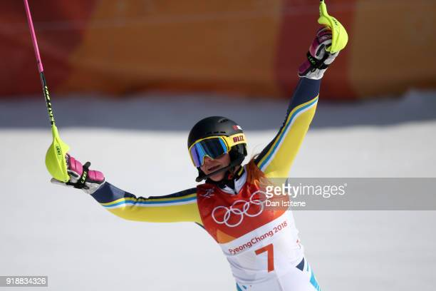 Frida Hansdotter of Sweden celebrates at the finish during the Ladies' Slalom Alpine Skiing at Yongpyong Alpine Centre on February 16 2018 in...