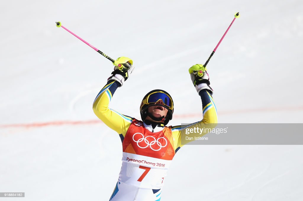 Frida Hansdotter of Sweden celebrates at the finish during the Ladies' Slalom Alpine Skiing at Yongpyong Alpine Centre on February 16, 2018 in Pyeongchang-gun, South Korea.