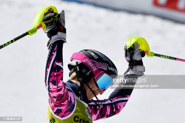 Frida Hansdotter of Sweden celebrates during the Audi FIS Alpine Ski World Cup Men's Giant Slalom and Women's Slalom on March 16 2019 in Soldeu...