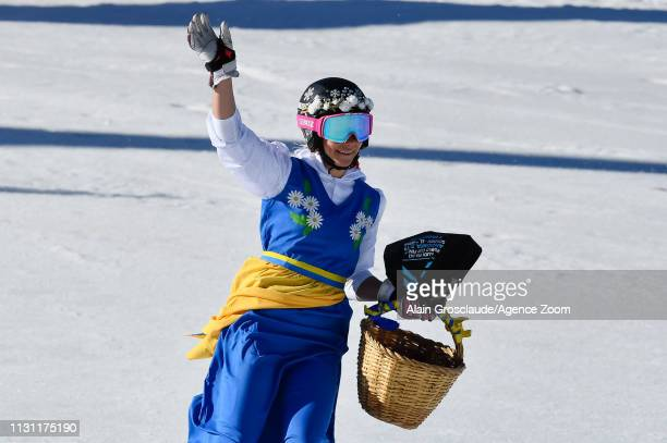 Frida Hansdotter of Sweden celebrates her last race during the Audi FIS Alpine Ski World Cup Men's Slalom and Women's Giant Slalom on March 17 2019...
