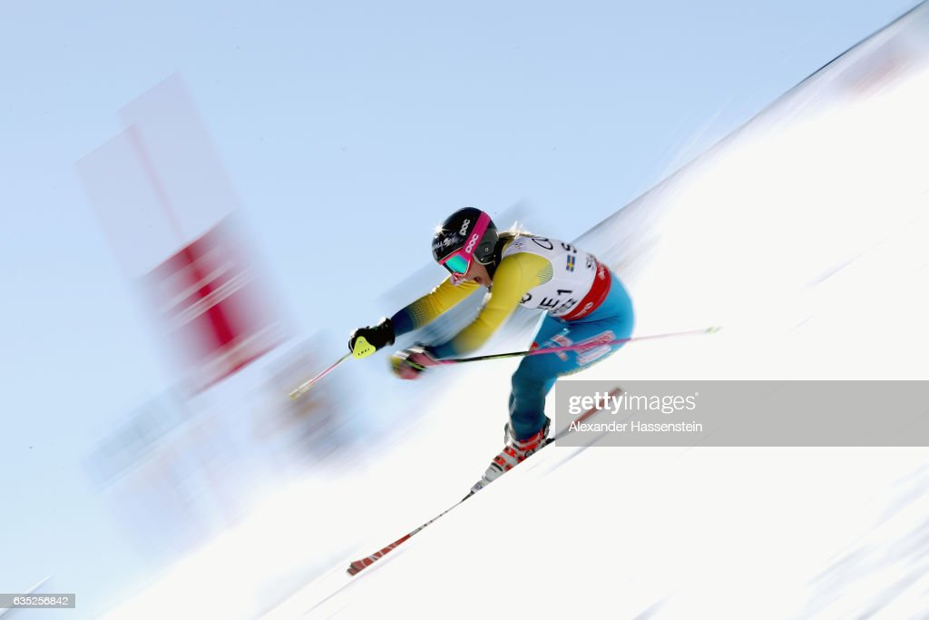 Frida Hansdotter of Sweden competes at the Alpine Team Event during the FIS Alpine World Ski Championships on February 14, 2017 in St Moritz, Switzerland.