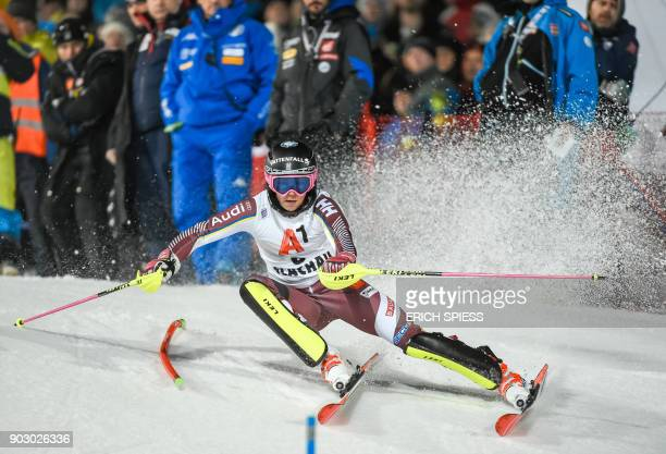 Frida Hansdotter of Sweden competes during first run of the FIS World Cup Ladies night Slalom race in FlachauAustria on January 9 2018 / AFP PHOTO /...