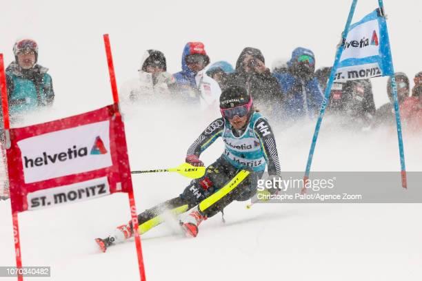 Frida Hansdotter of Sweden competes during the Audi FIS Alpine Ski World Cup Women's Parallel Slalom on December 9 2018 in St Moritz Switzerland