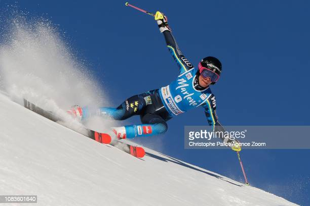 Frida Hansdotter of Sweden competes during the Audi FIS Alpine Ski World Cup Women's Giant Slalom on January 15, 2019 in Kronplatz Italy.